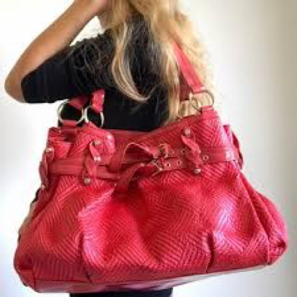 Francesco Biasia coral red Fran woven leather bag